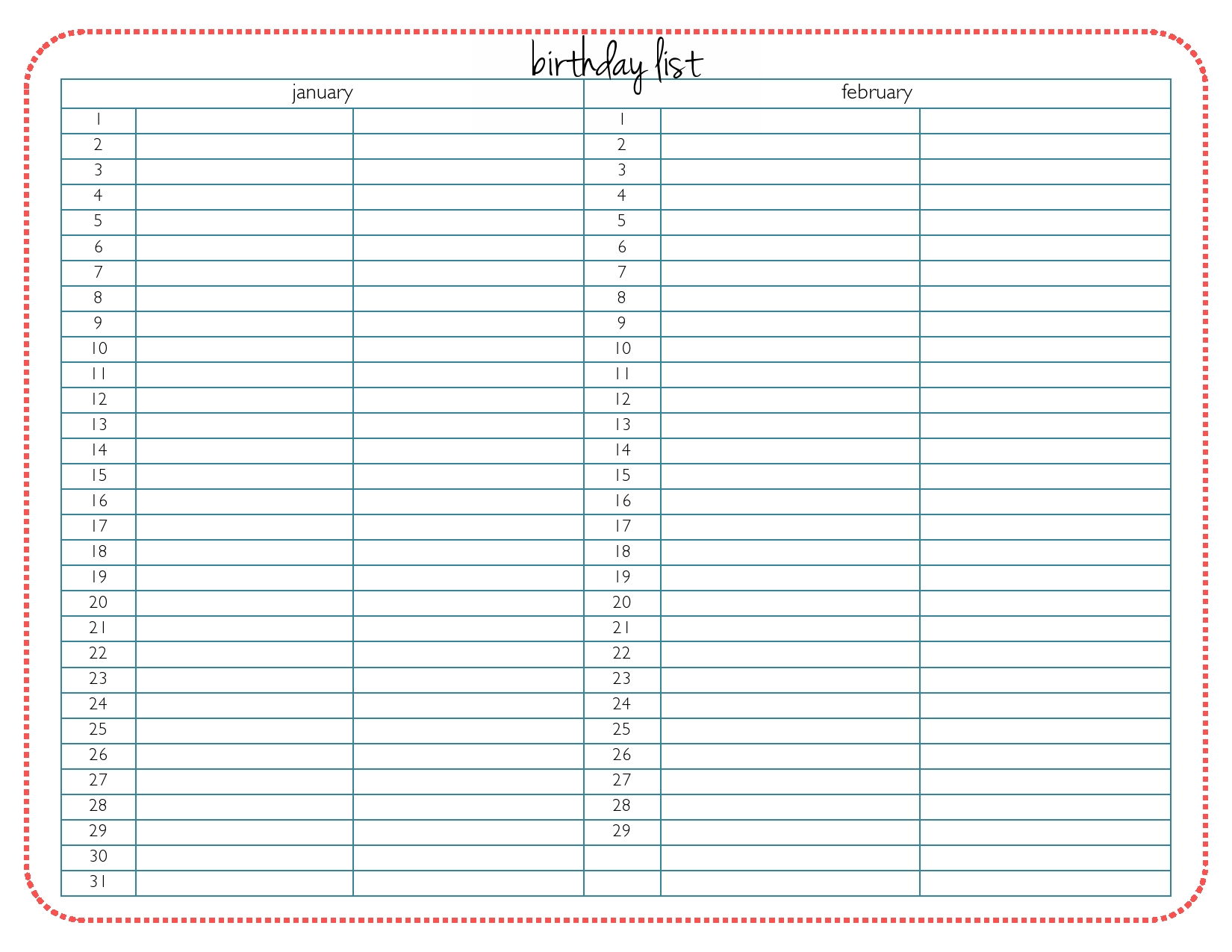 Blank Calendar List : Birthday list printable