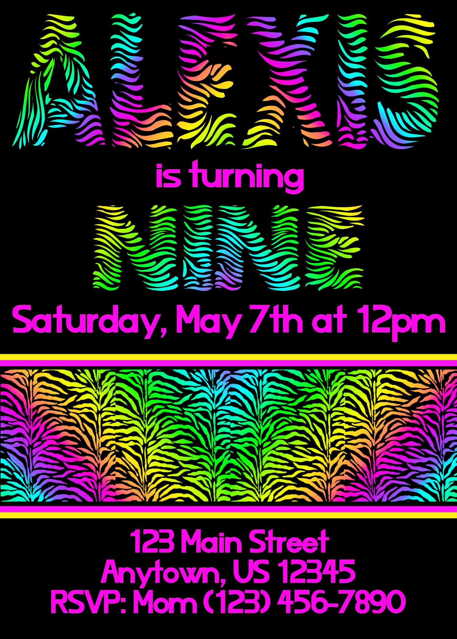 neon zebra party invitations two blue pillars