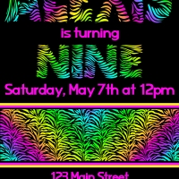 Neon Zebra Party Invitations