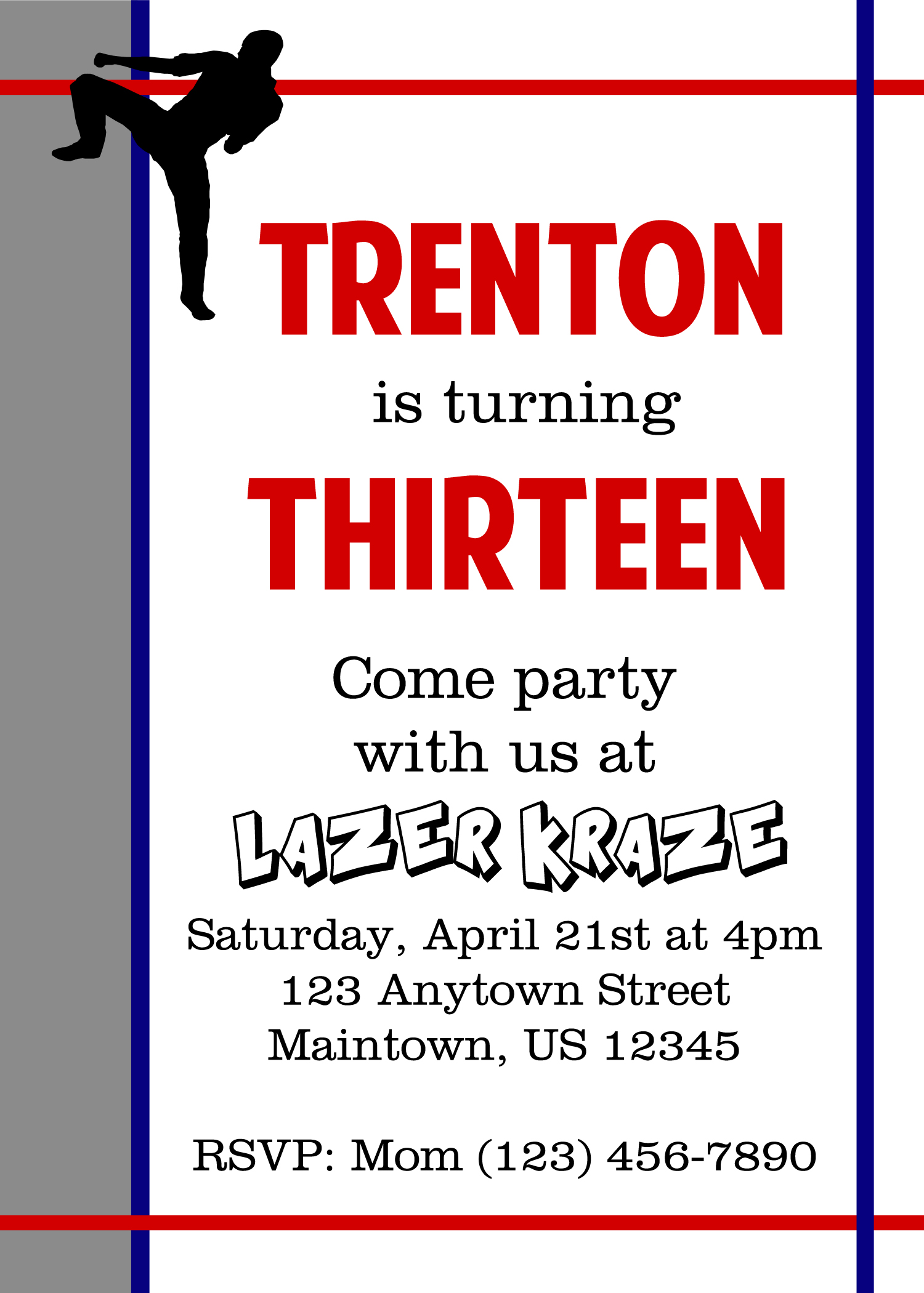 Another Invitation: Teenage Karate Boy   Two Blue Pillars