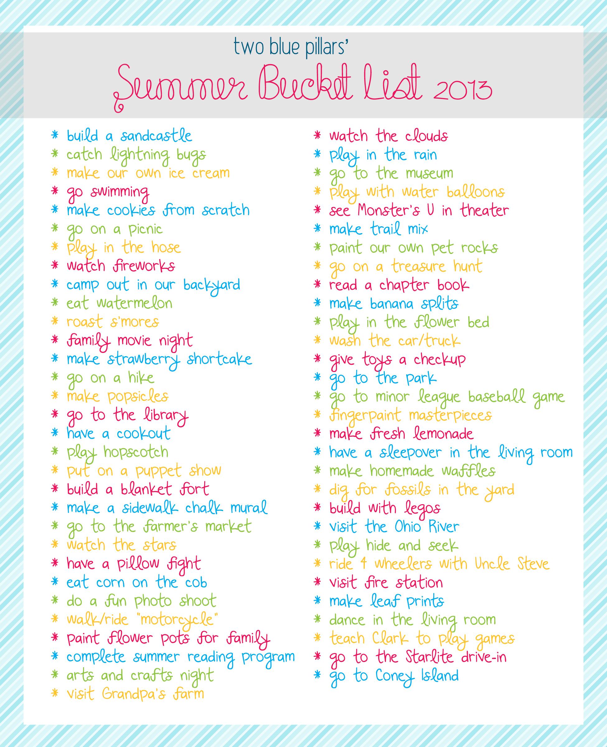 Summer Bucket List 2013 | Two Blue Pillars